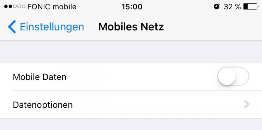 Mobile Daten ausschalten