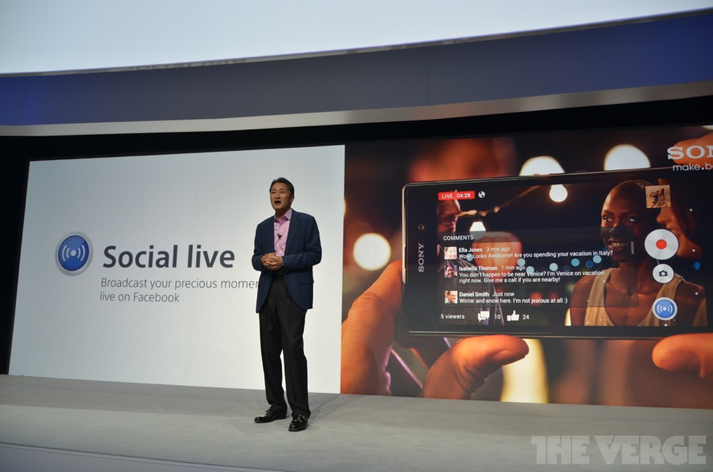 Social Media Streaming Sony Xperia Z1 / Quelle: theverge.com